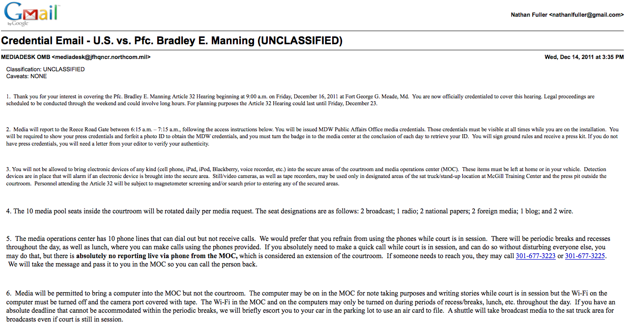 On media access to bradley manning s hearing nathan l for Press pass request template