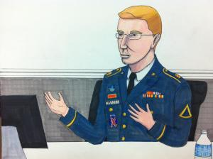 Manning on the stand. Courtroom sketch by Clark Stoeckley.