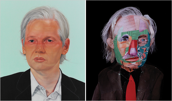 NYT's Assange profile artwork, by Jenny Morgan (left) and Daniel Gordon (right)